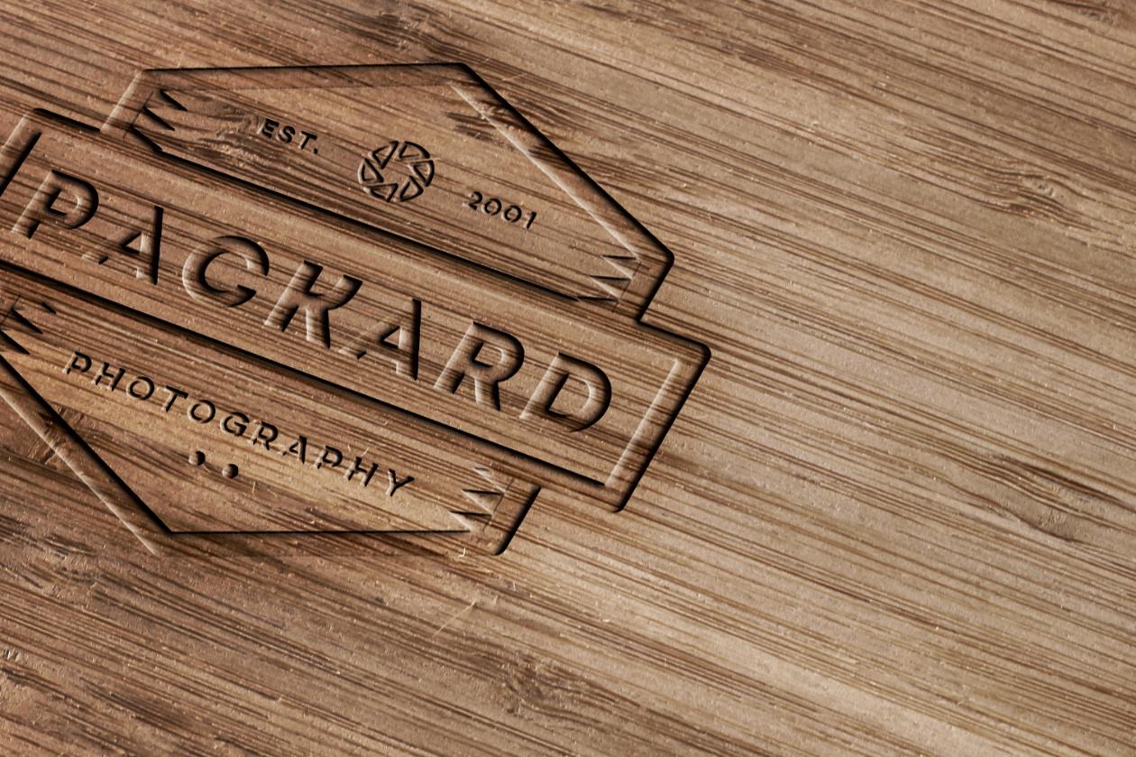 Wood Engraving Mockup Psd