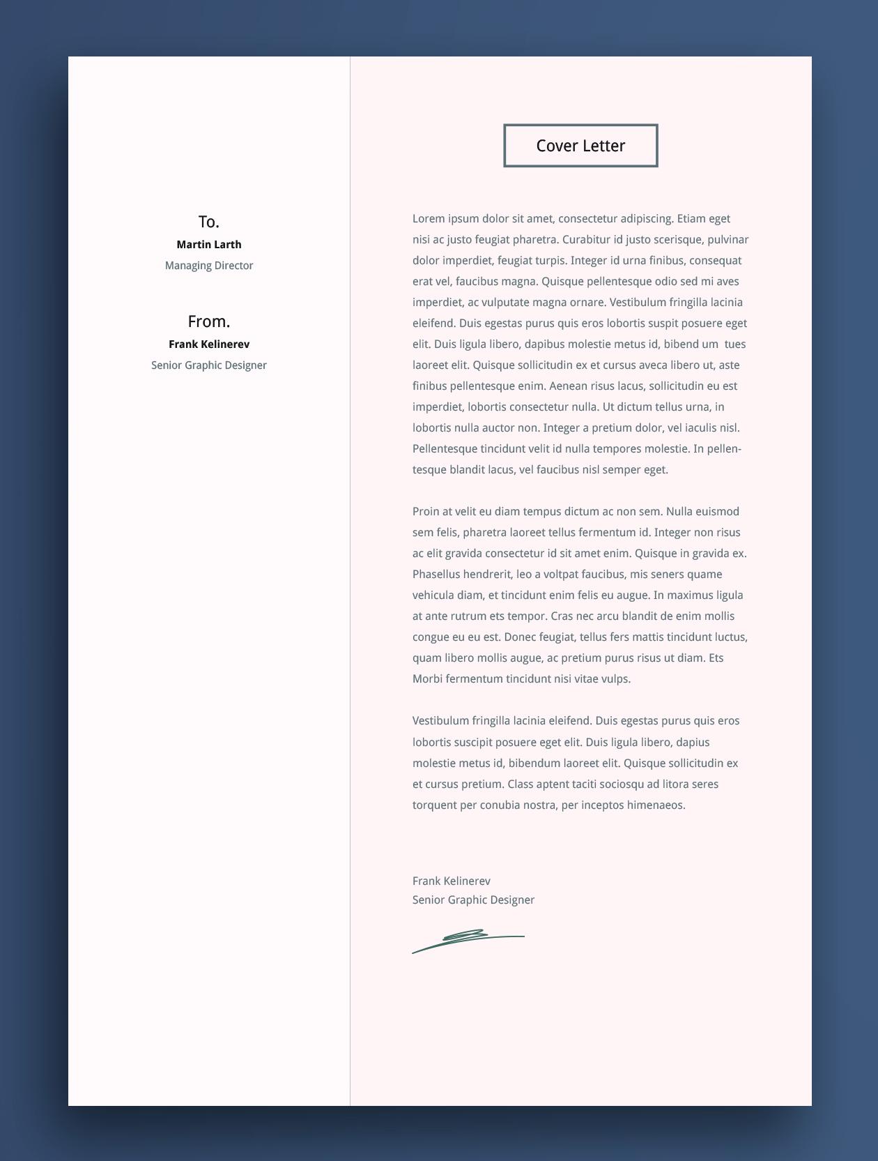 Cover Letter Cv Template Design Graphic