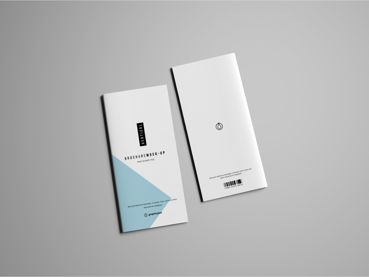 Vertical Brochure Mockup - Cover & Back