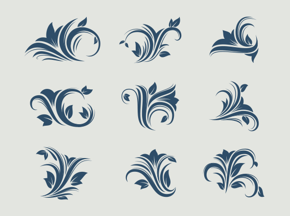 floral decorative design elements