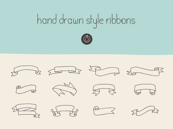 Hand Drawn Ribbons Set