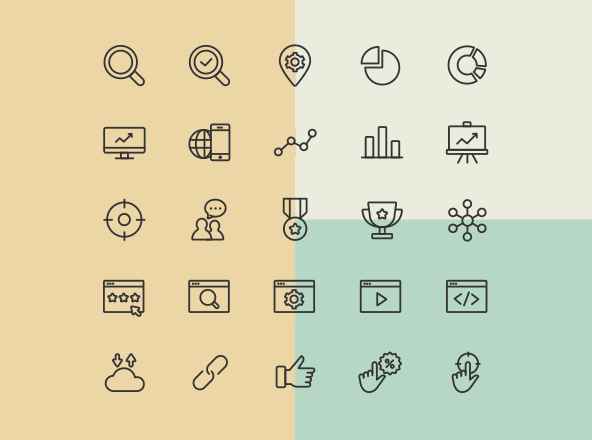 professional line and coloured icons