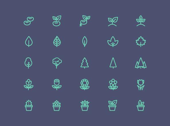 25 Line Plant Icons