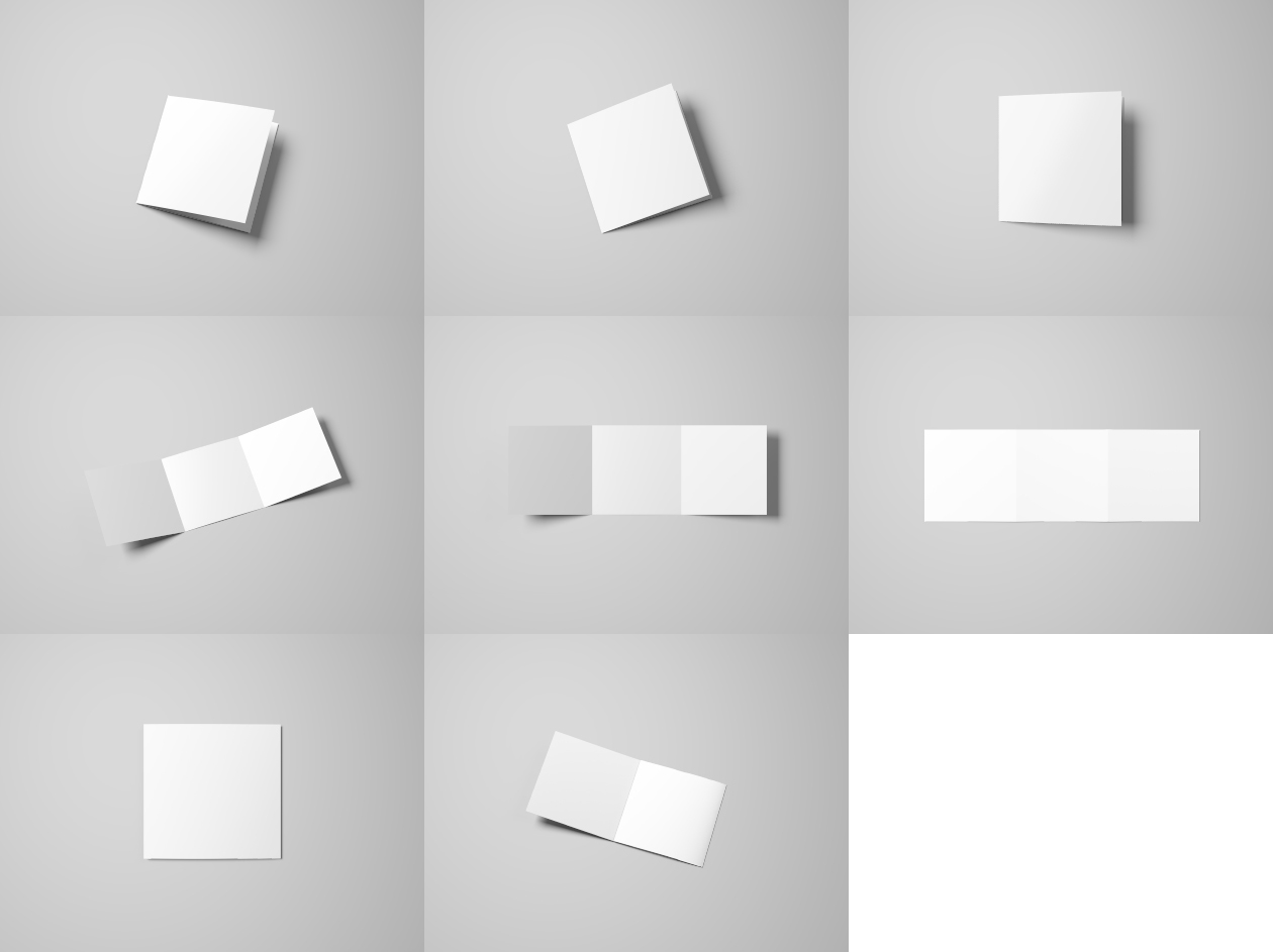 TriFold Square Flyer Mockup blank
