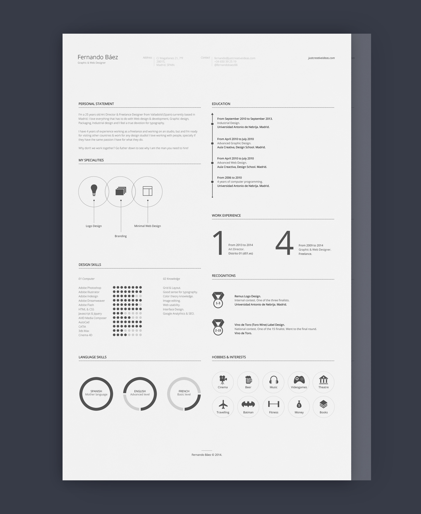 FF - Awesome free resume template with icons