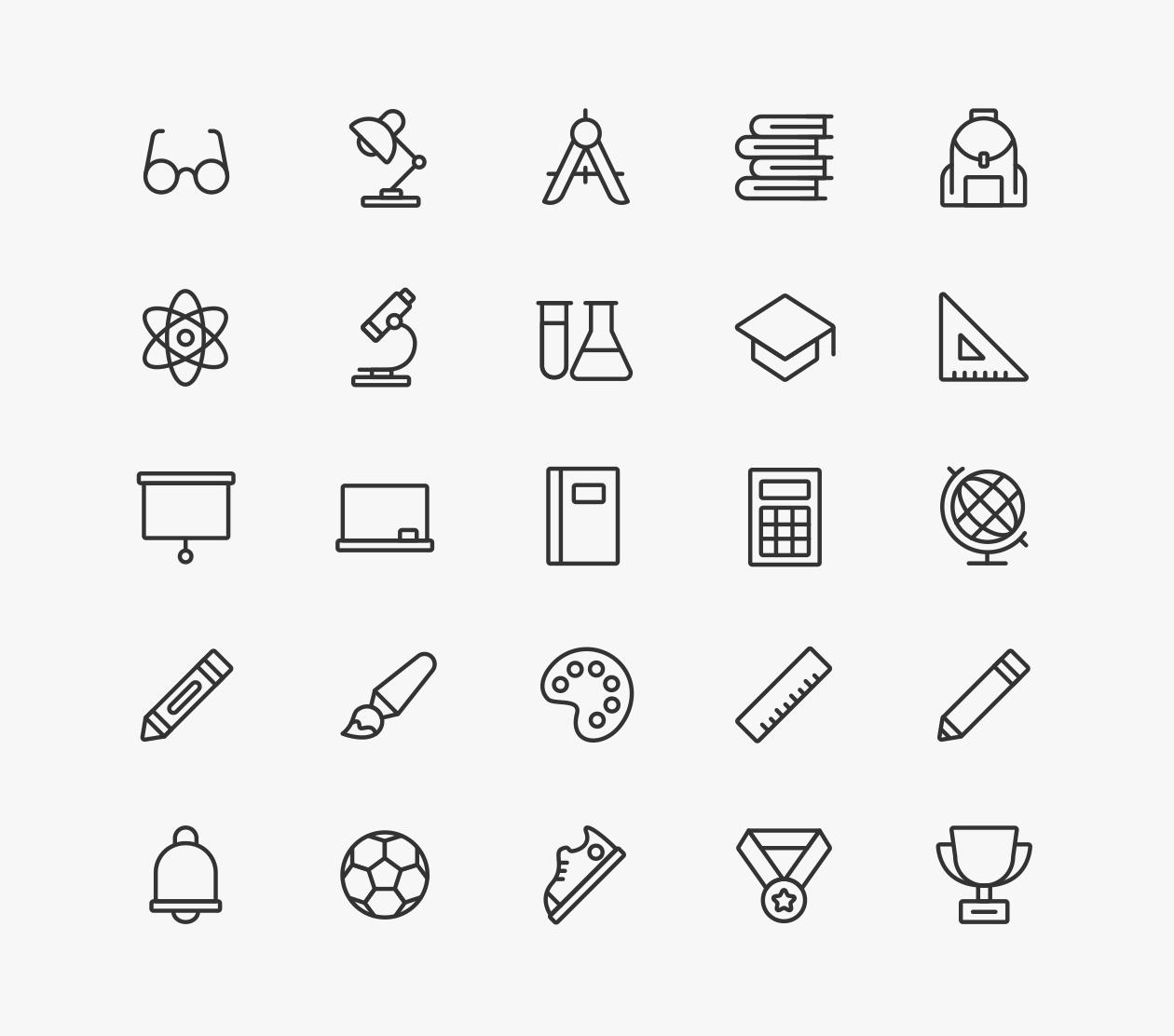 School Icons - White
