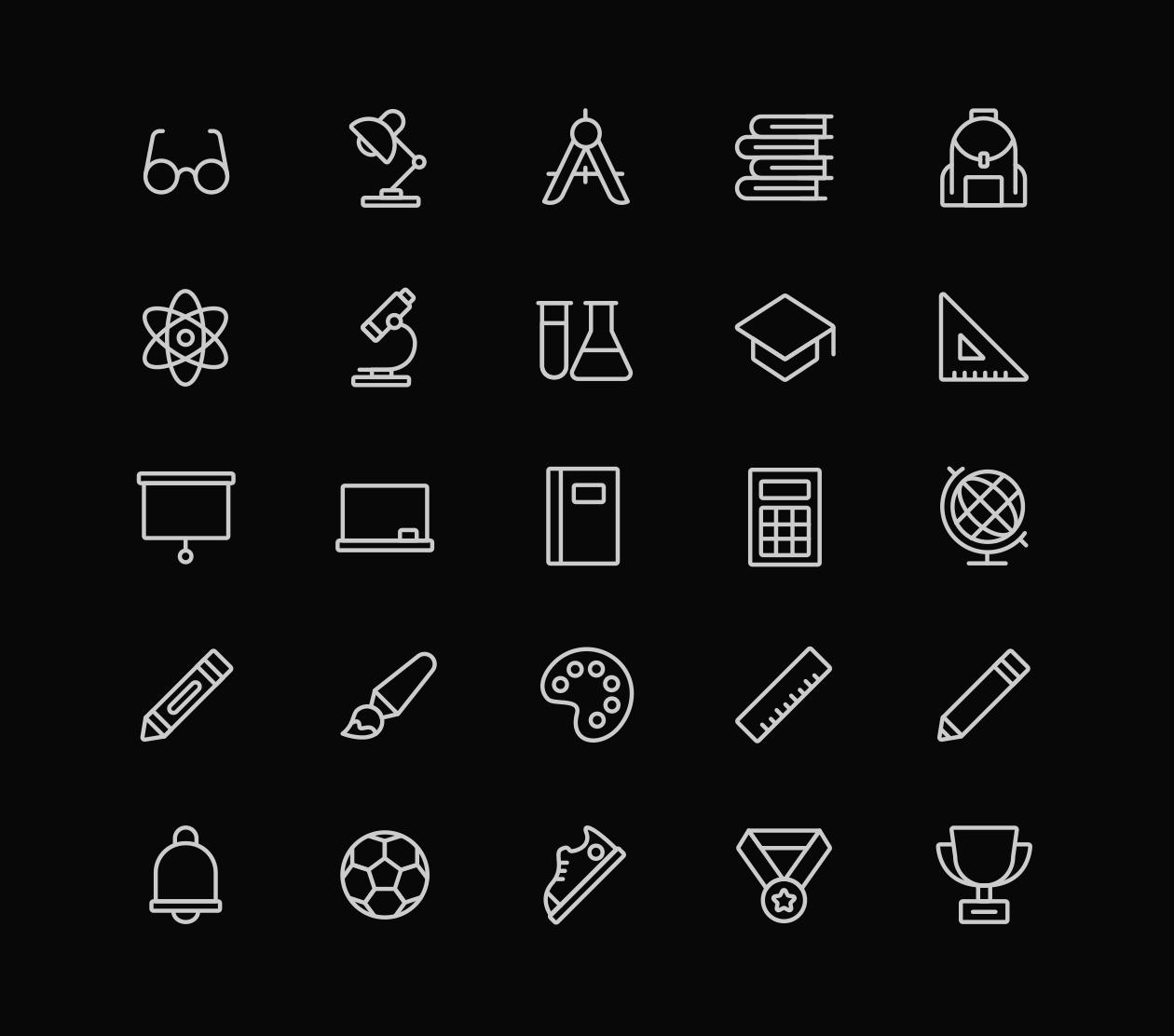 School Icons - Black