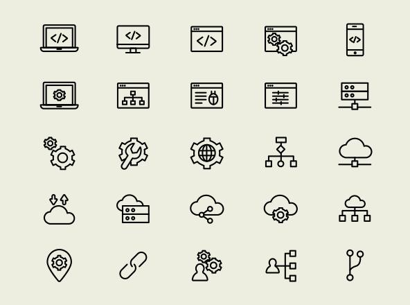 25 web development icons