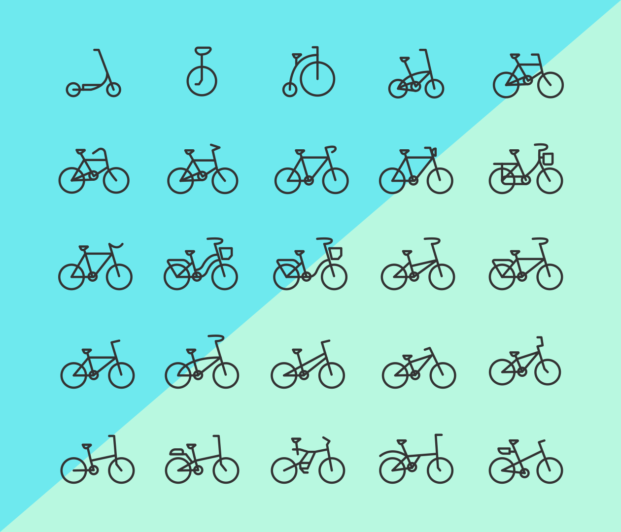 25 bicycle line vector icons