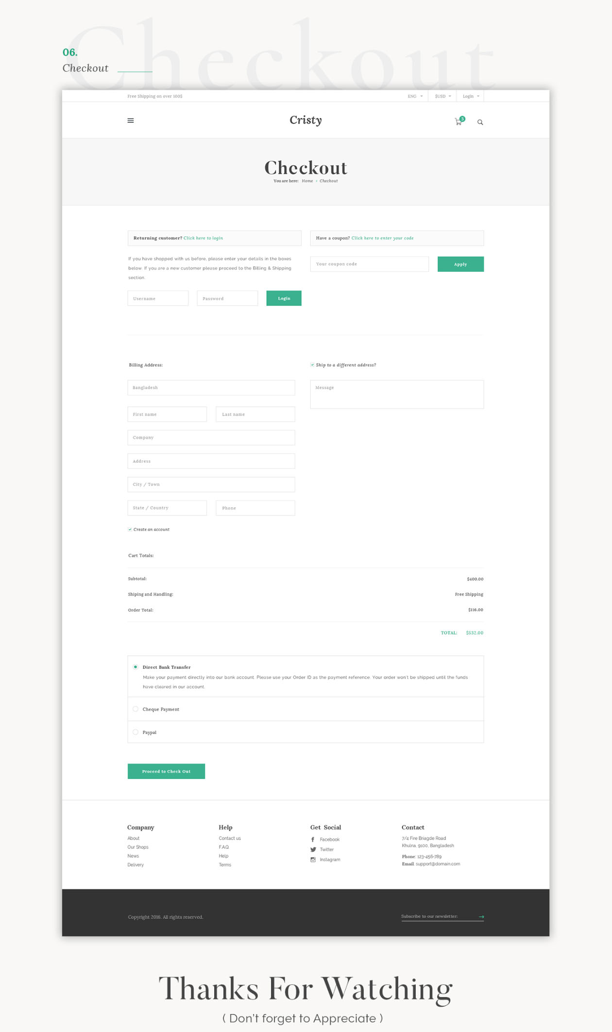 E-commerce Website Template Contact Page