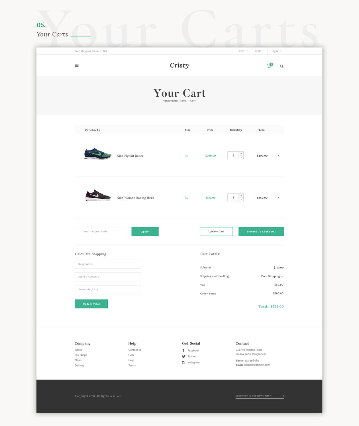 E-commerce Website Template Cart Page