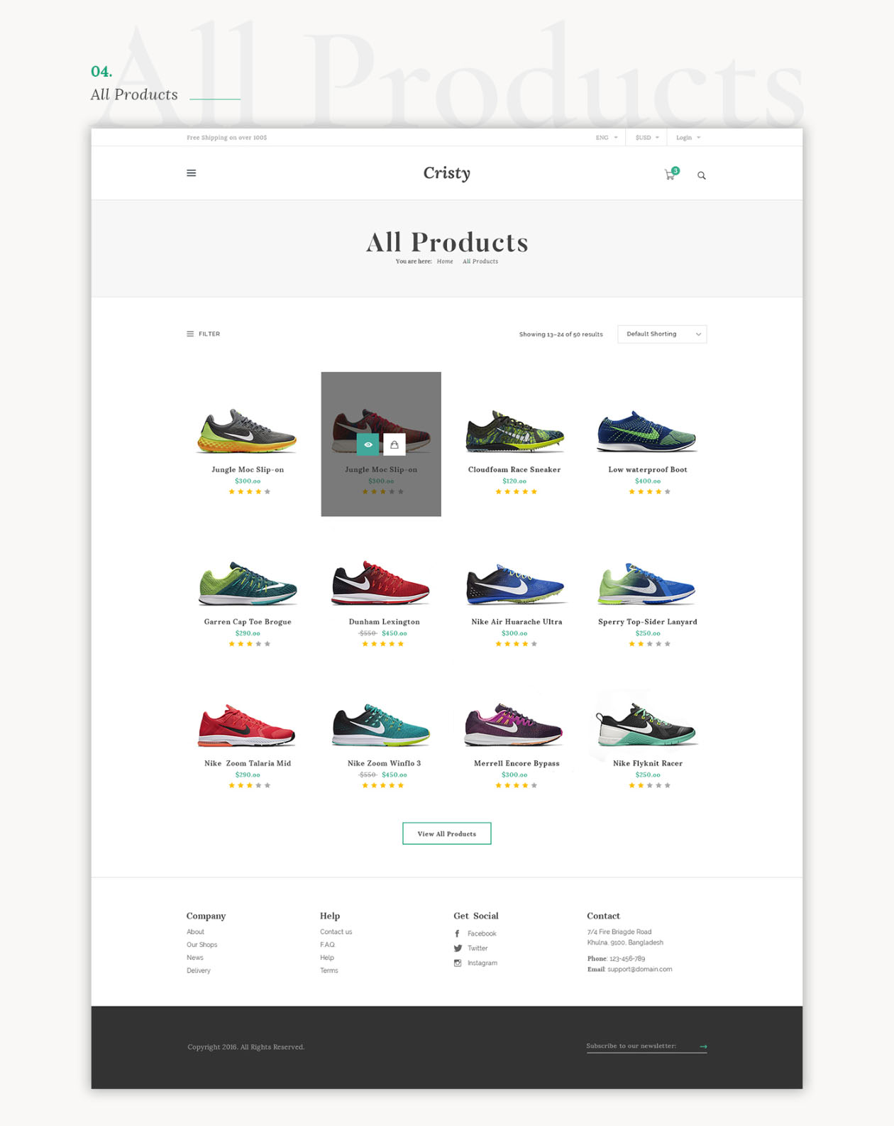 E-commerce Website Template Listing Page