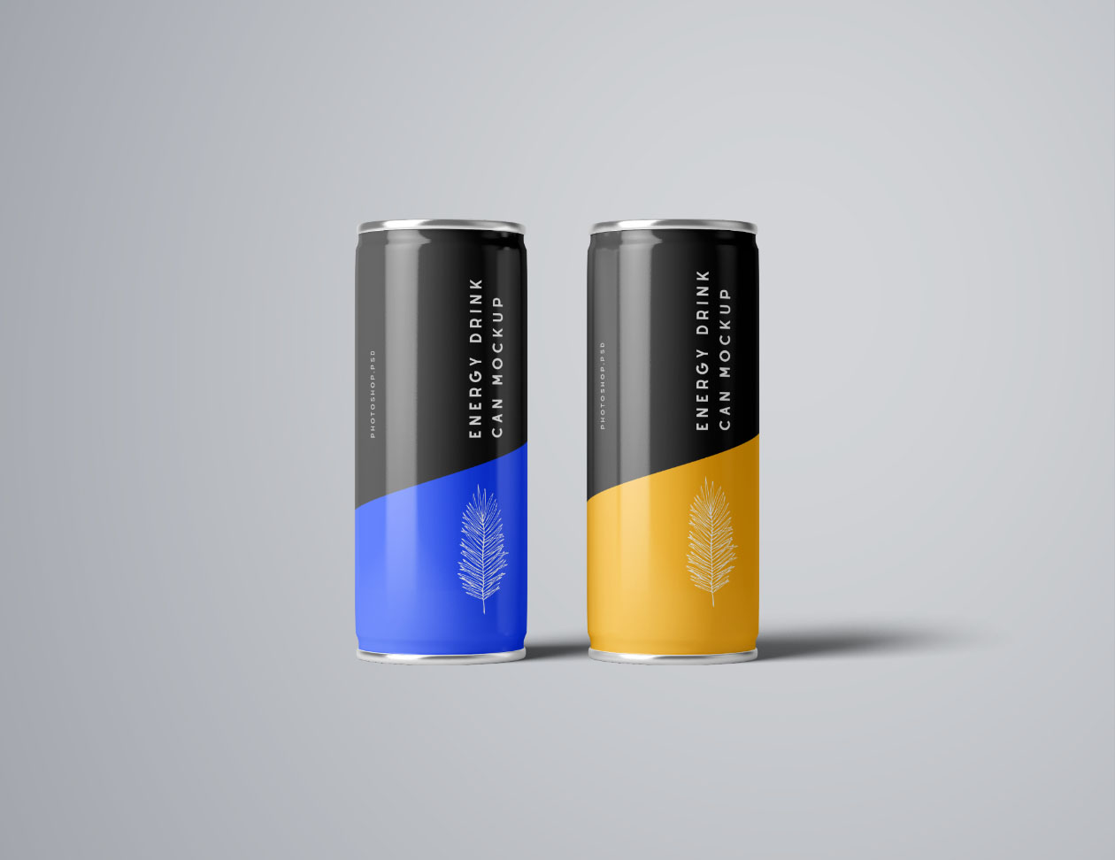 Two front Flying Energy Drink Mockups