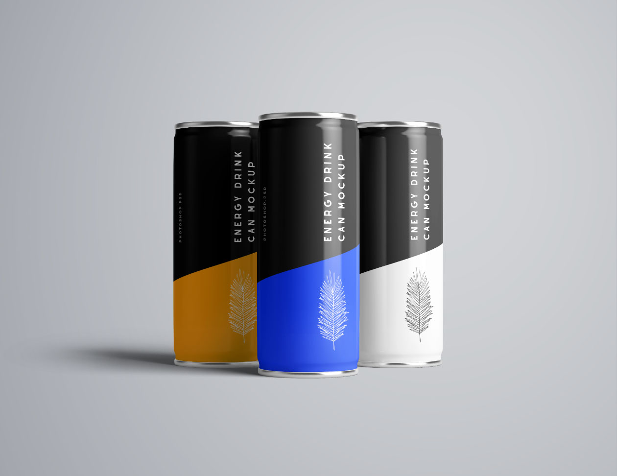 3 Front Two front Flying Energy Drink Mockups