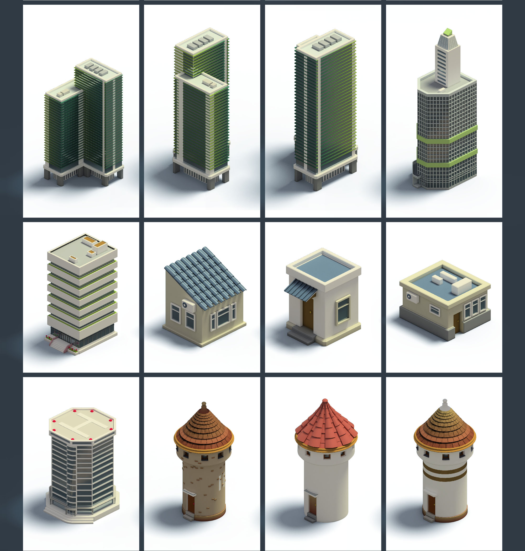 3D Isometric Buildings - PNG