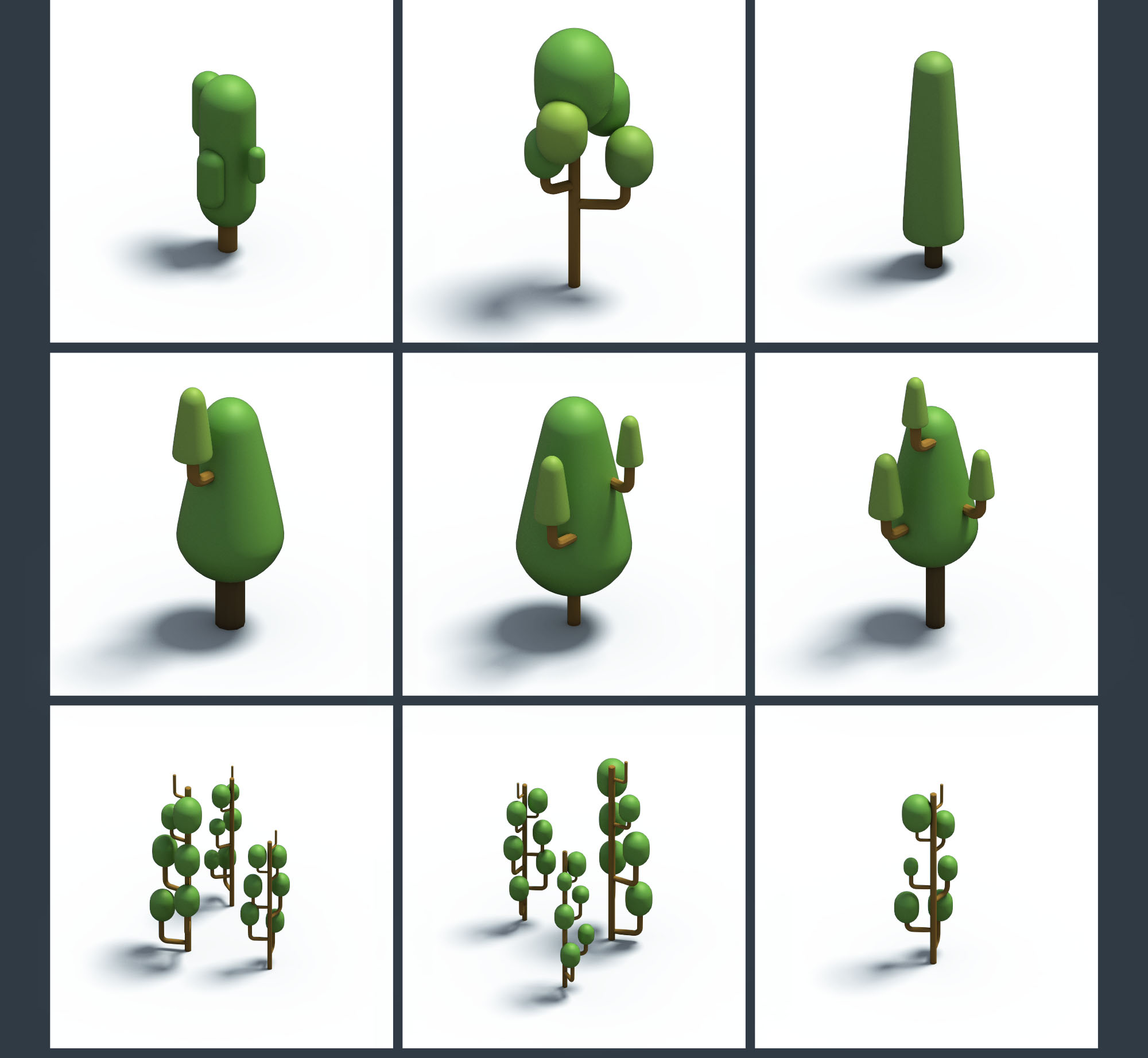 Trees & Plants Isometric Icons