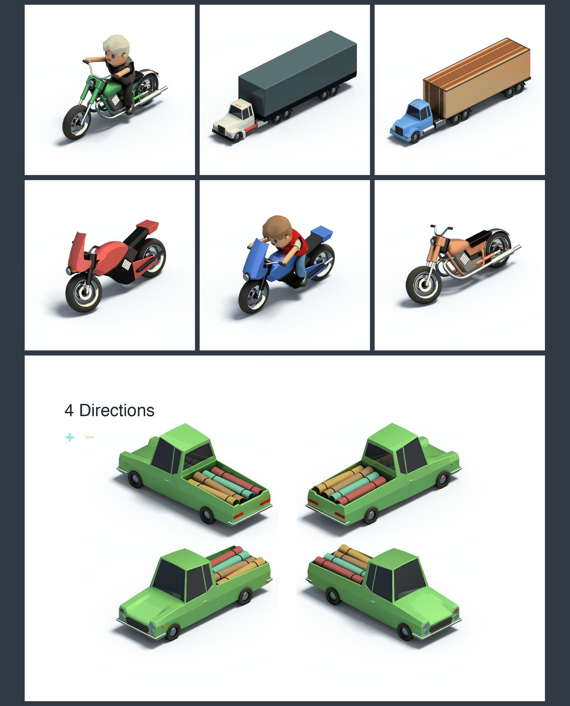 vehicles isometric icons