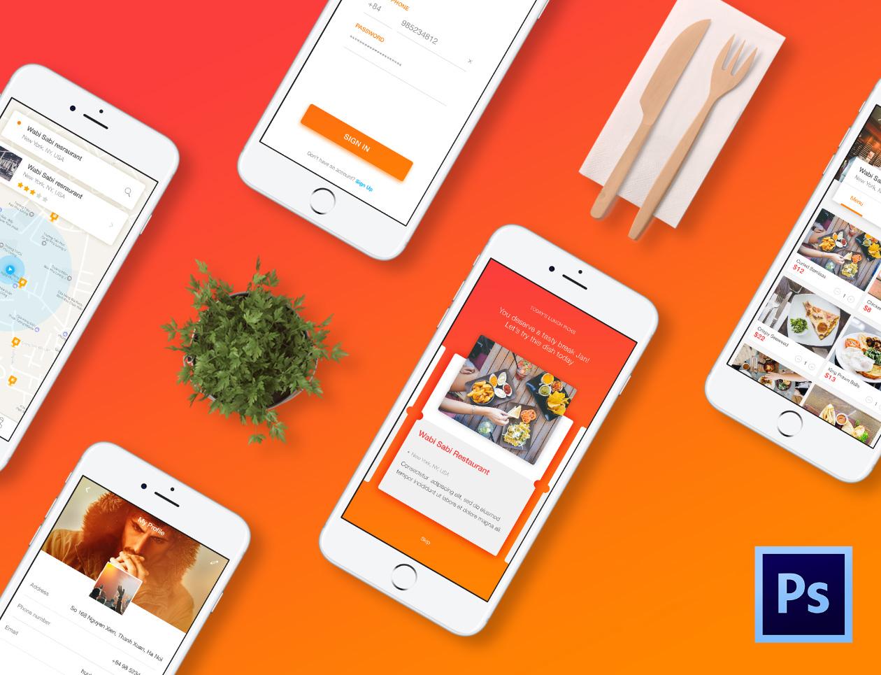 Cook Restaurant App Psd