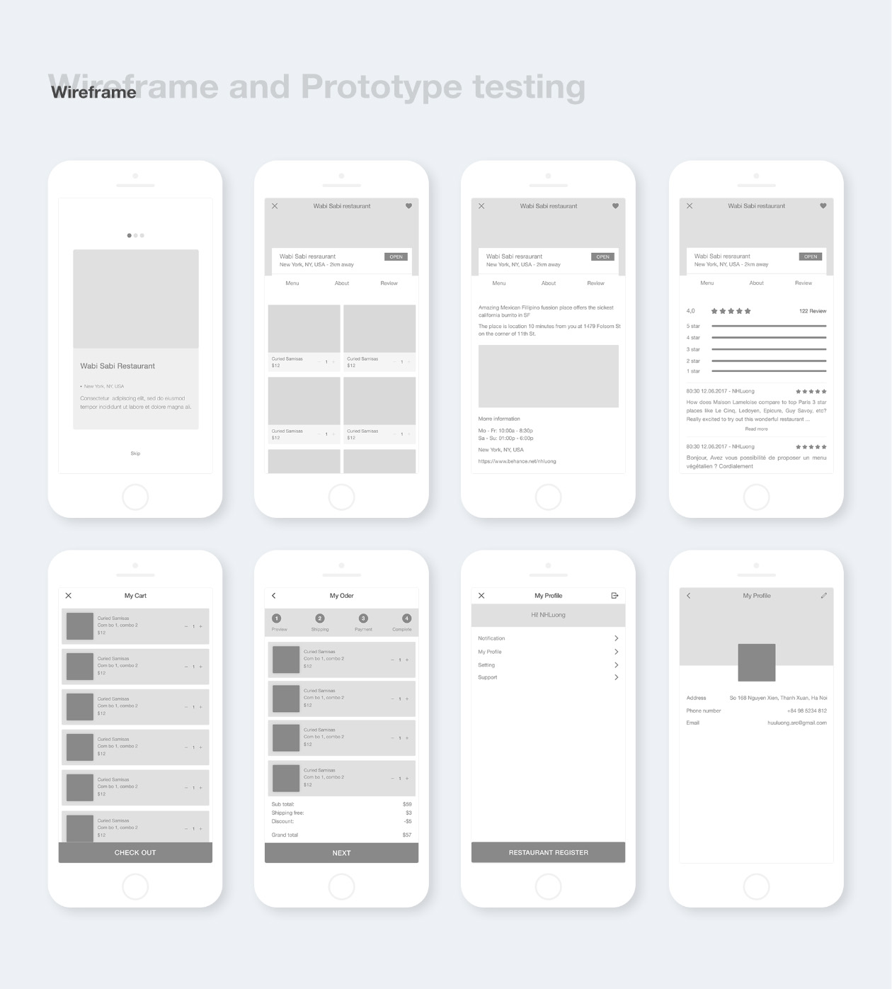 Cook Restaurant App Wireframes