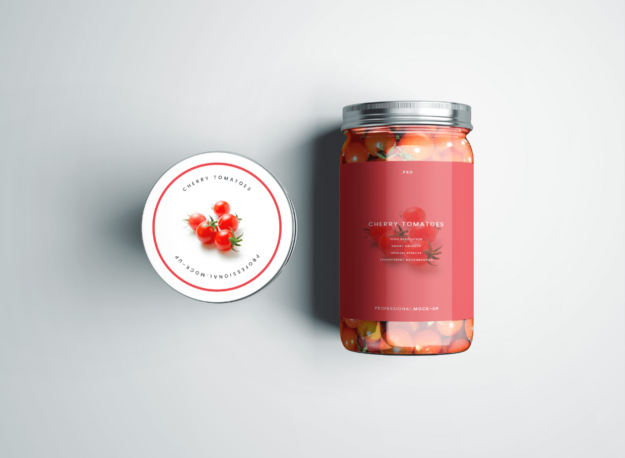 cherry tomatoes jar mockup