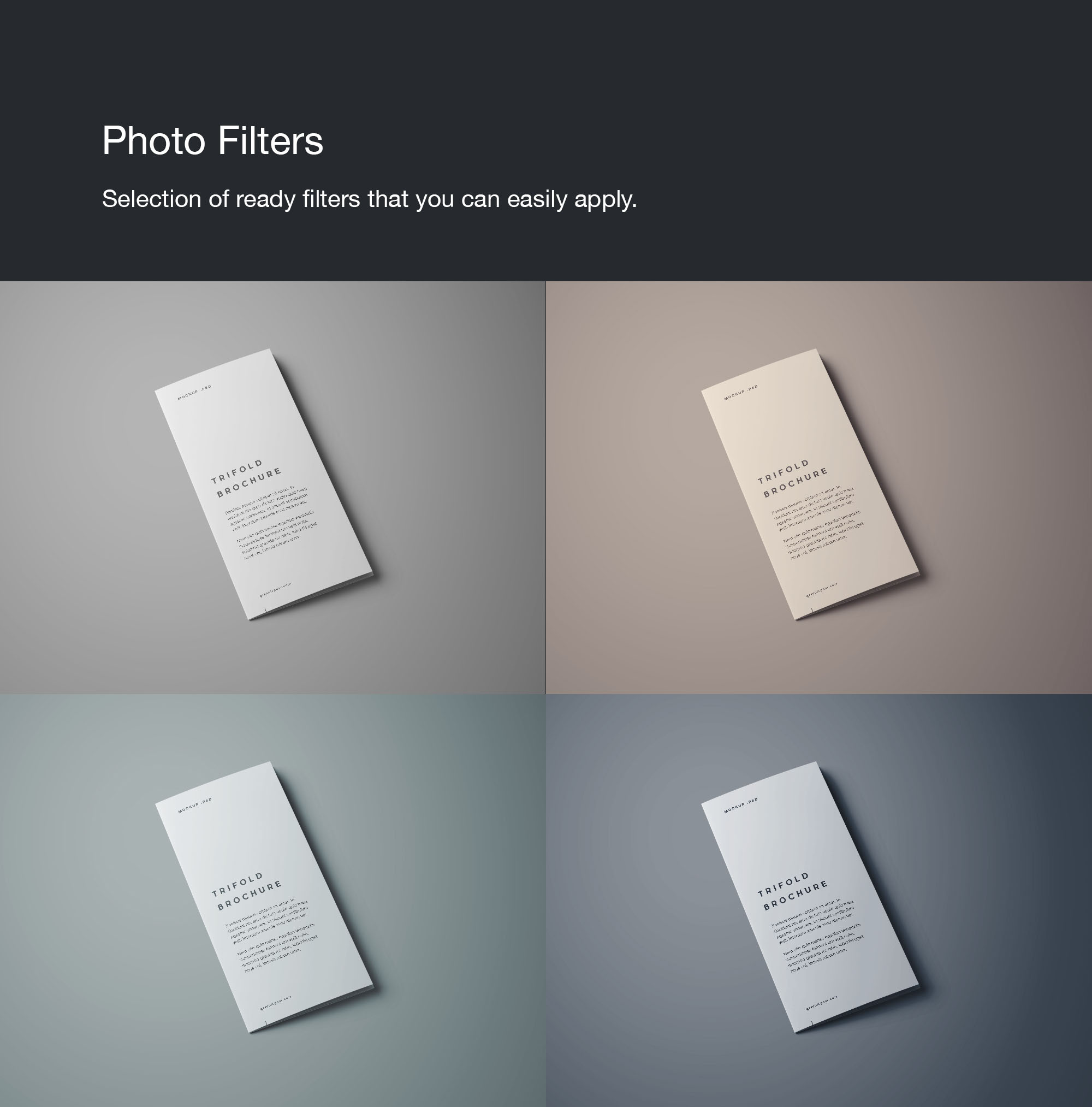 TriFold Brochure Mockup filters