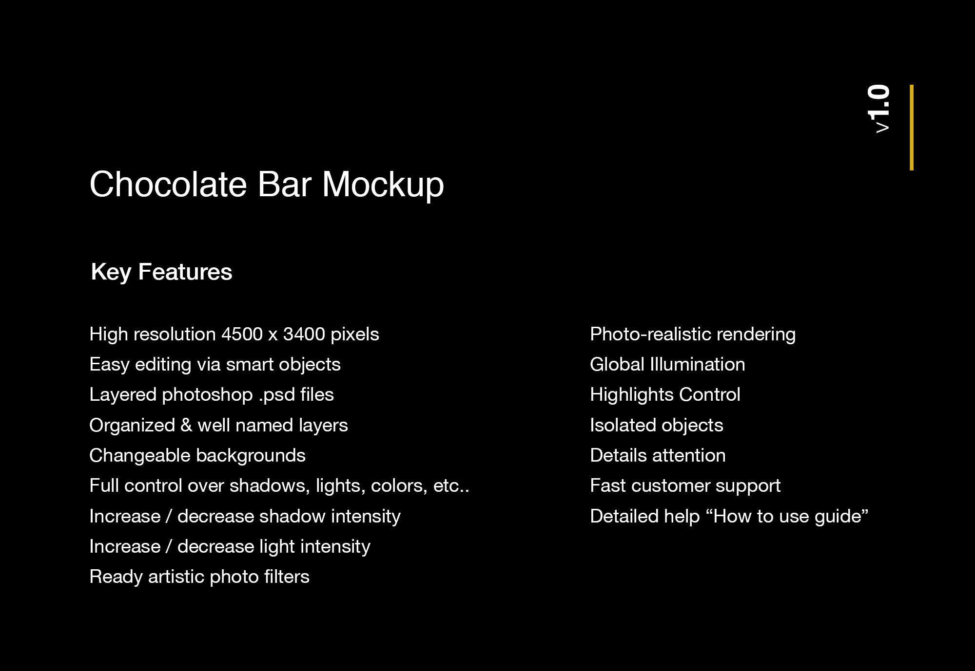 Chocolate Bar Mockup Features