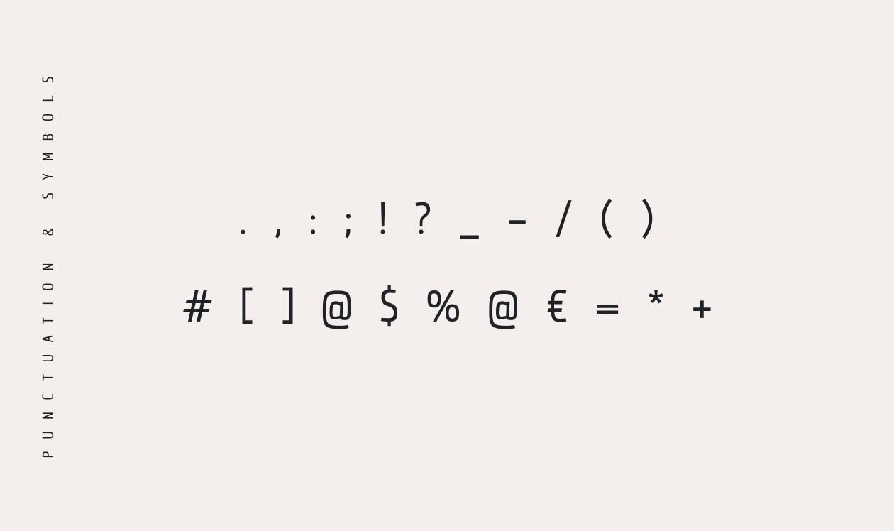 Qontra Font - Punctuation & Symbols