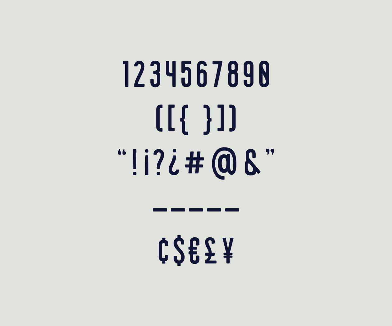 Union Condensed Numbers and Glyphs