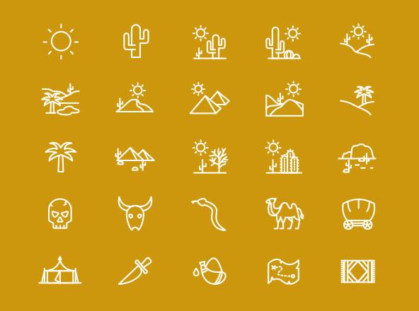 Desert Line Icons