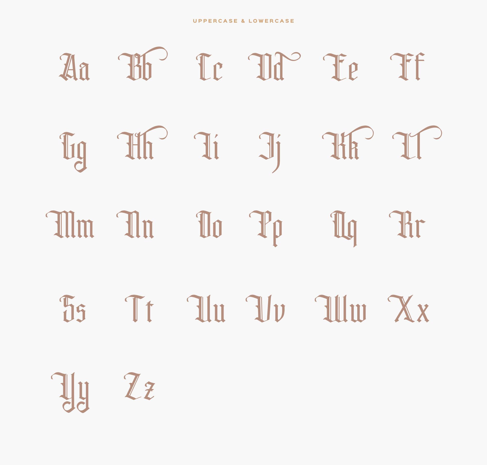 Rhama Gothic Typeface Letters