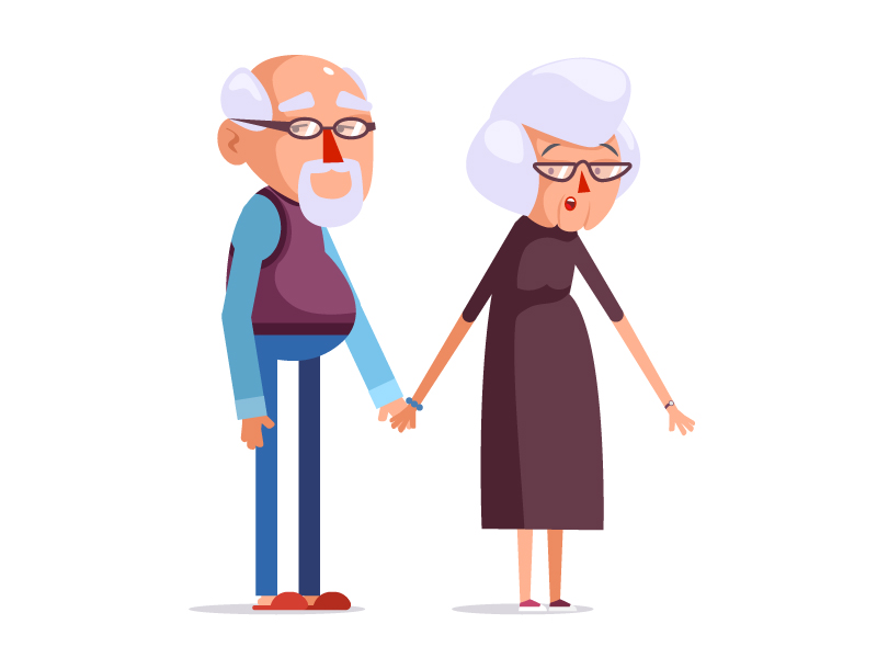 grandma and grandpa illustration