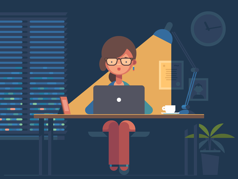 Female Graphic Designer Flat Illustration