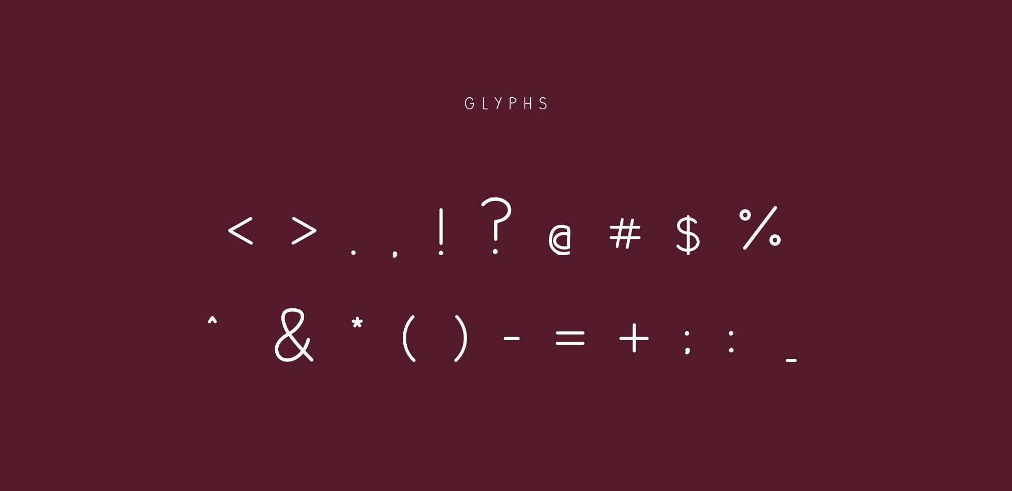 Plum Typeface Glyphs