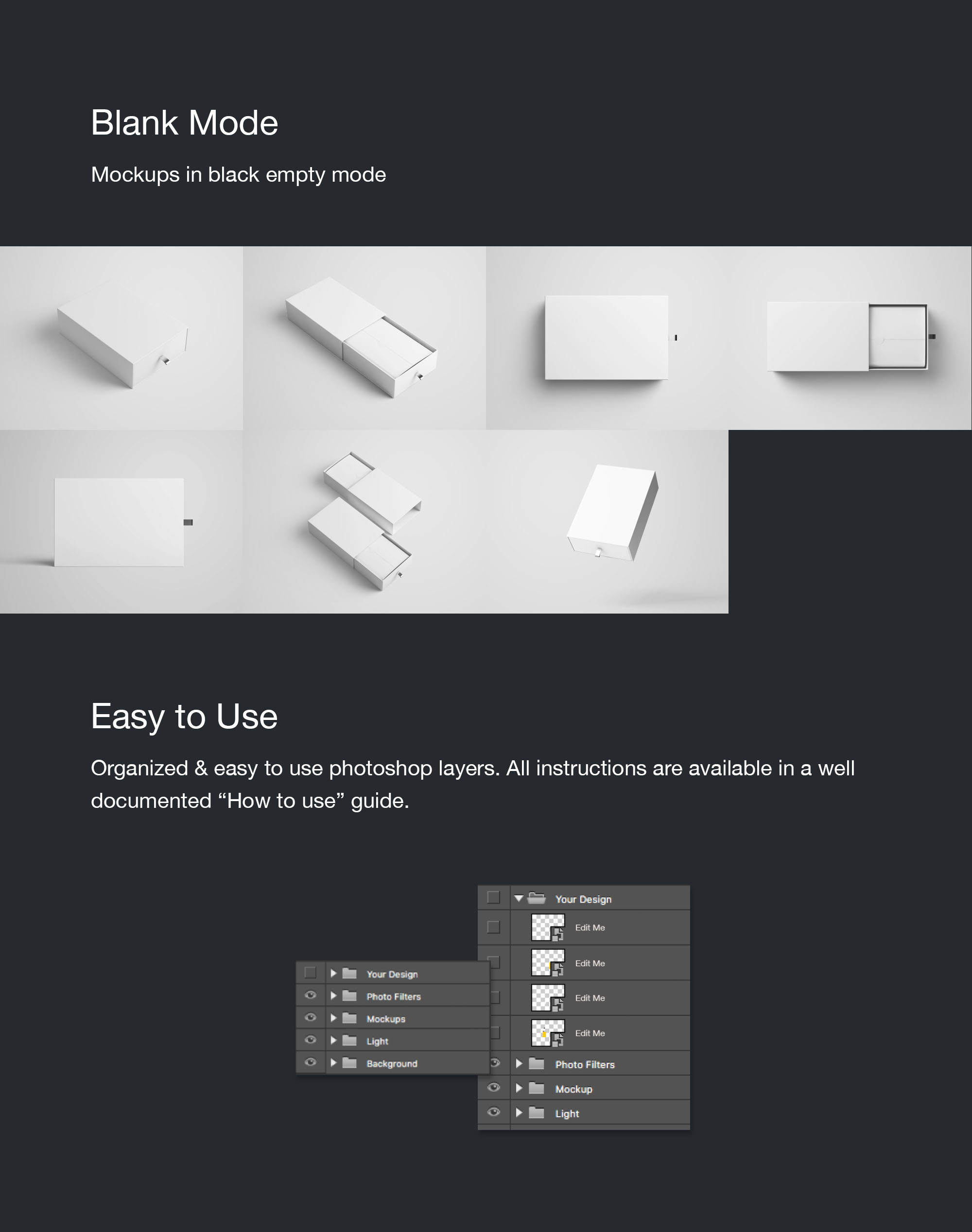 Rectangle Slide Box Mockup - Blank