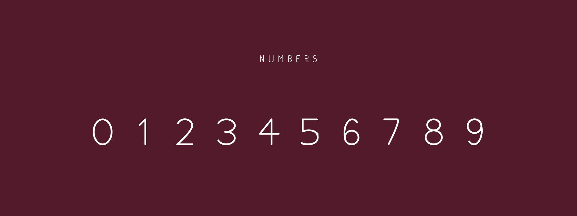 Plum Typeface Numbers