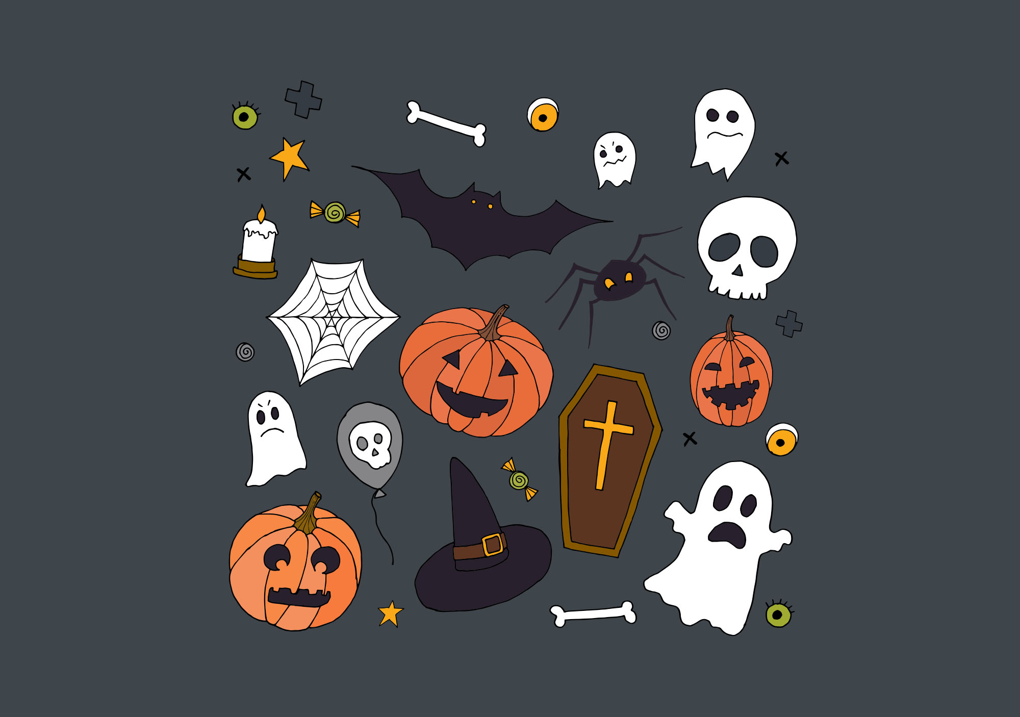 Halloween Hand Drawn Elements