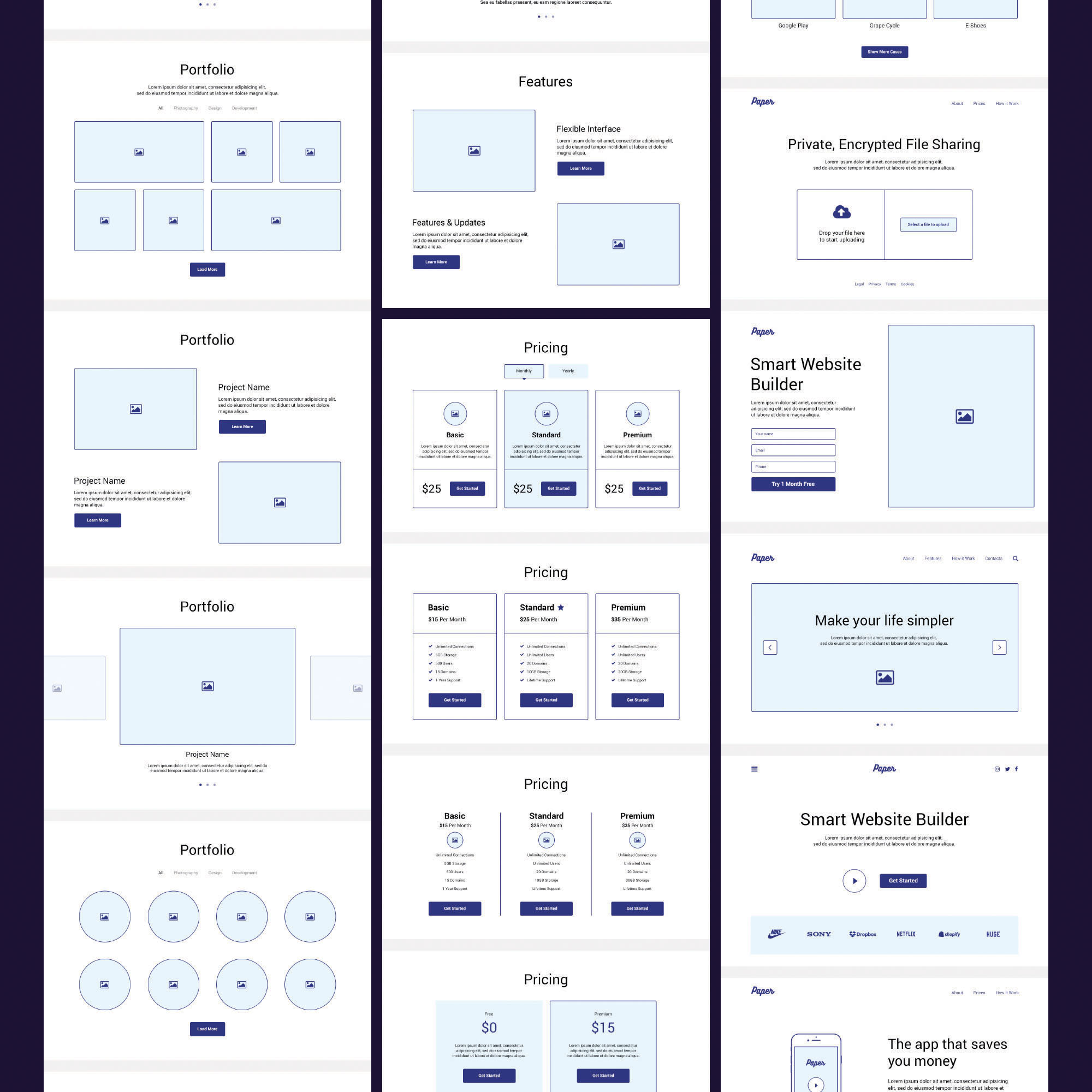 Paper  Website Design Wireframe