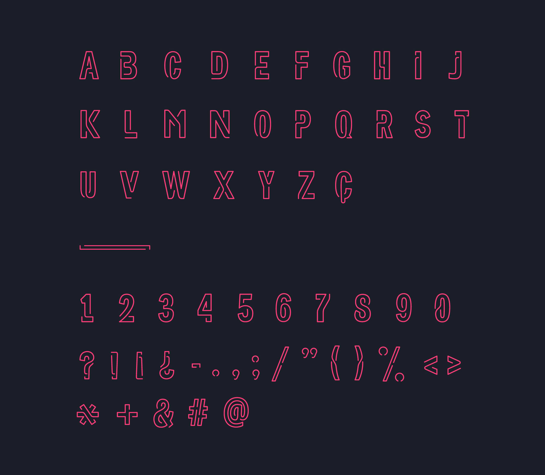 Neoneon font characters