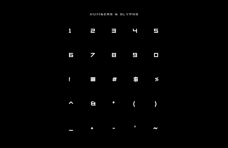 Aexkon Typeface - Numbers & Glyphs