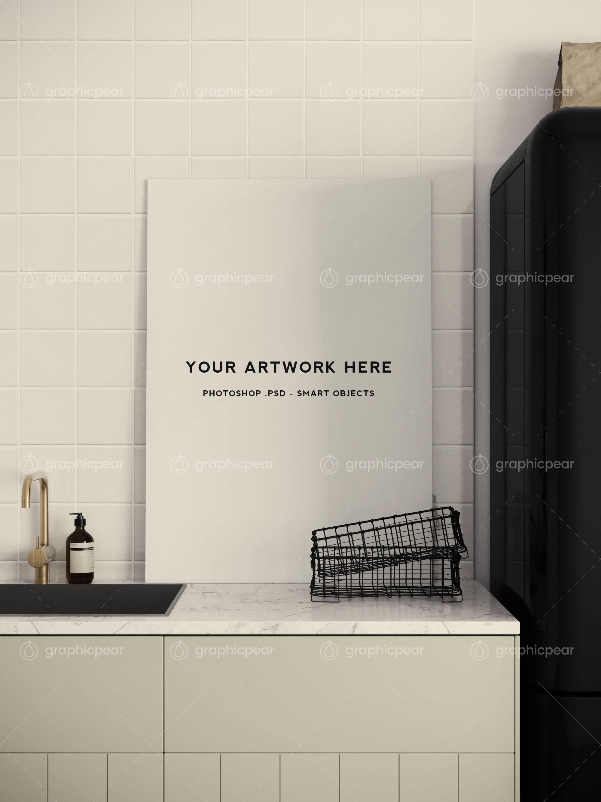 poster mockup in kitchen scene setting