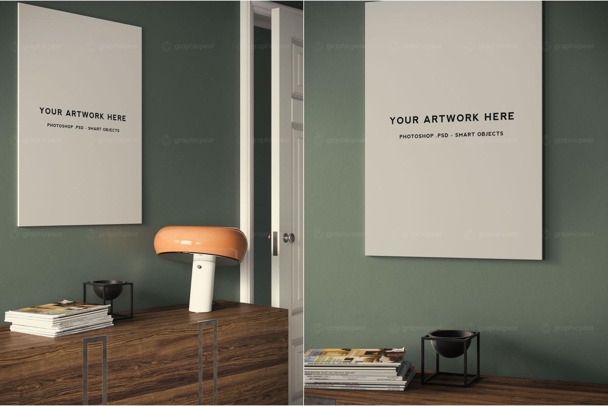 frameless a1 poster interior scene mockup