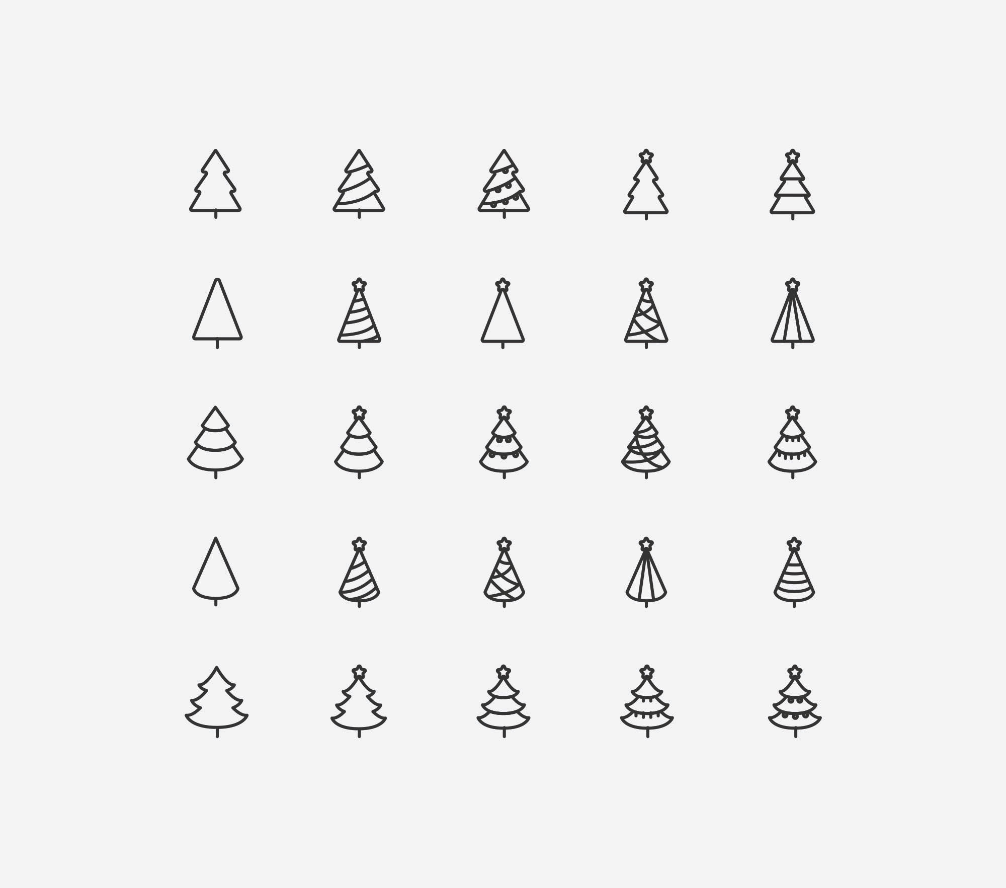 Christmas Tree Vector Image.25 Line Stylized Tree Vector Minimal Icons