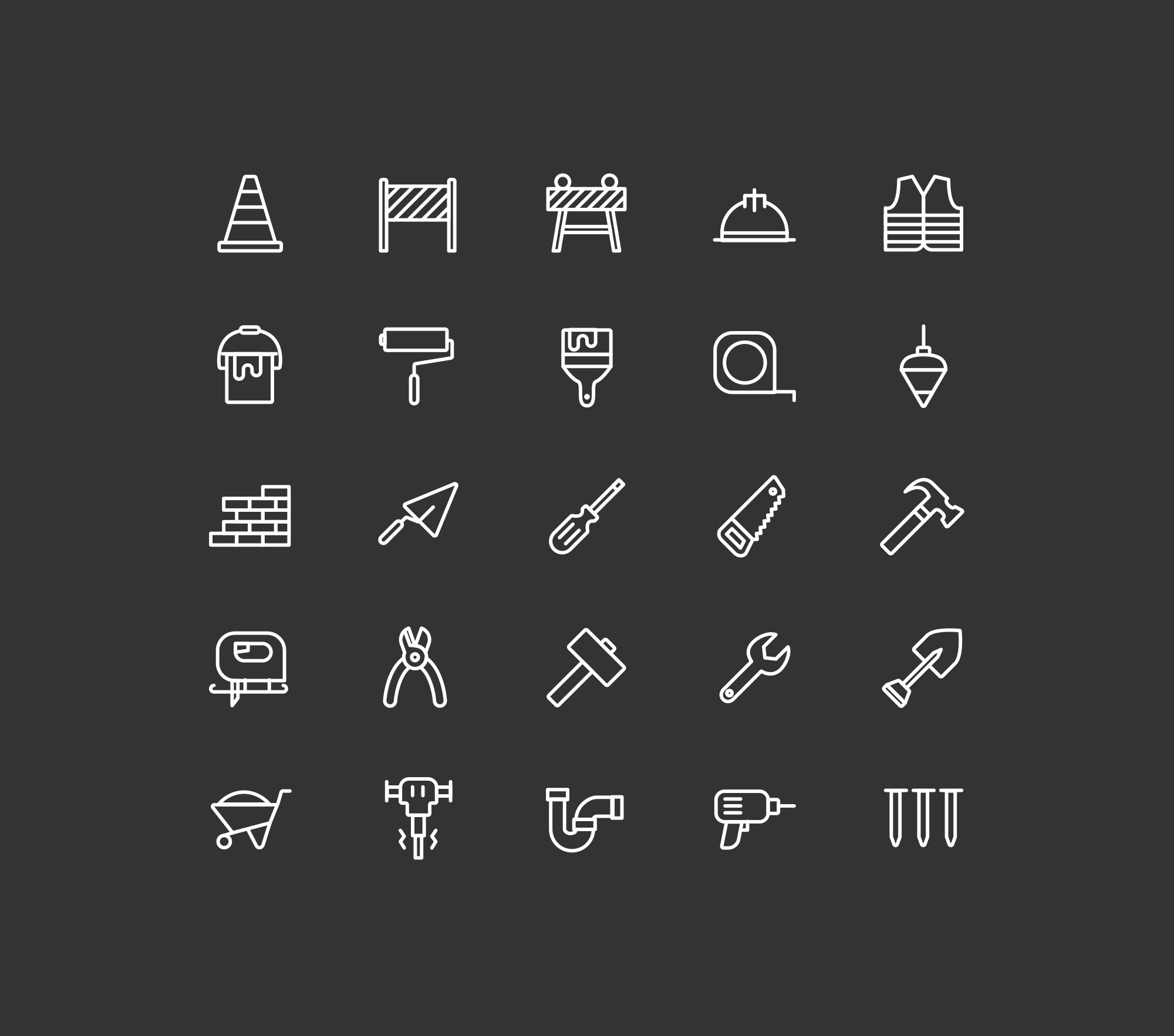 Construction Icons - Dark