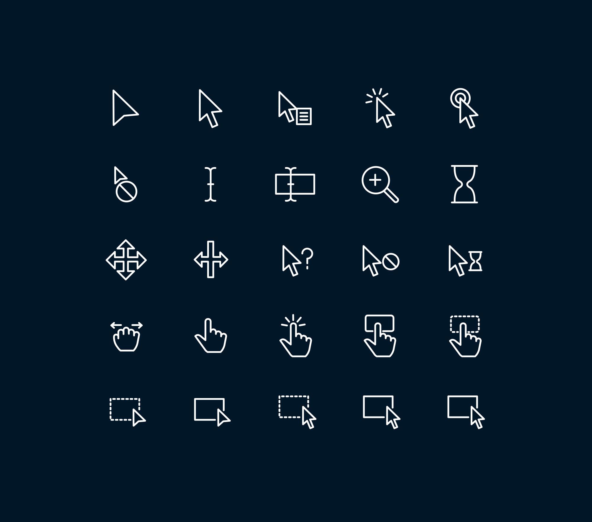 Cursor & Selection Icons - Dark
