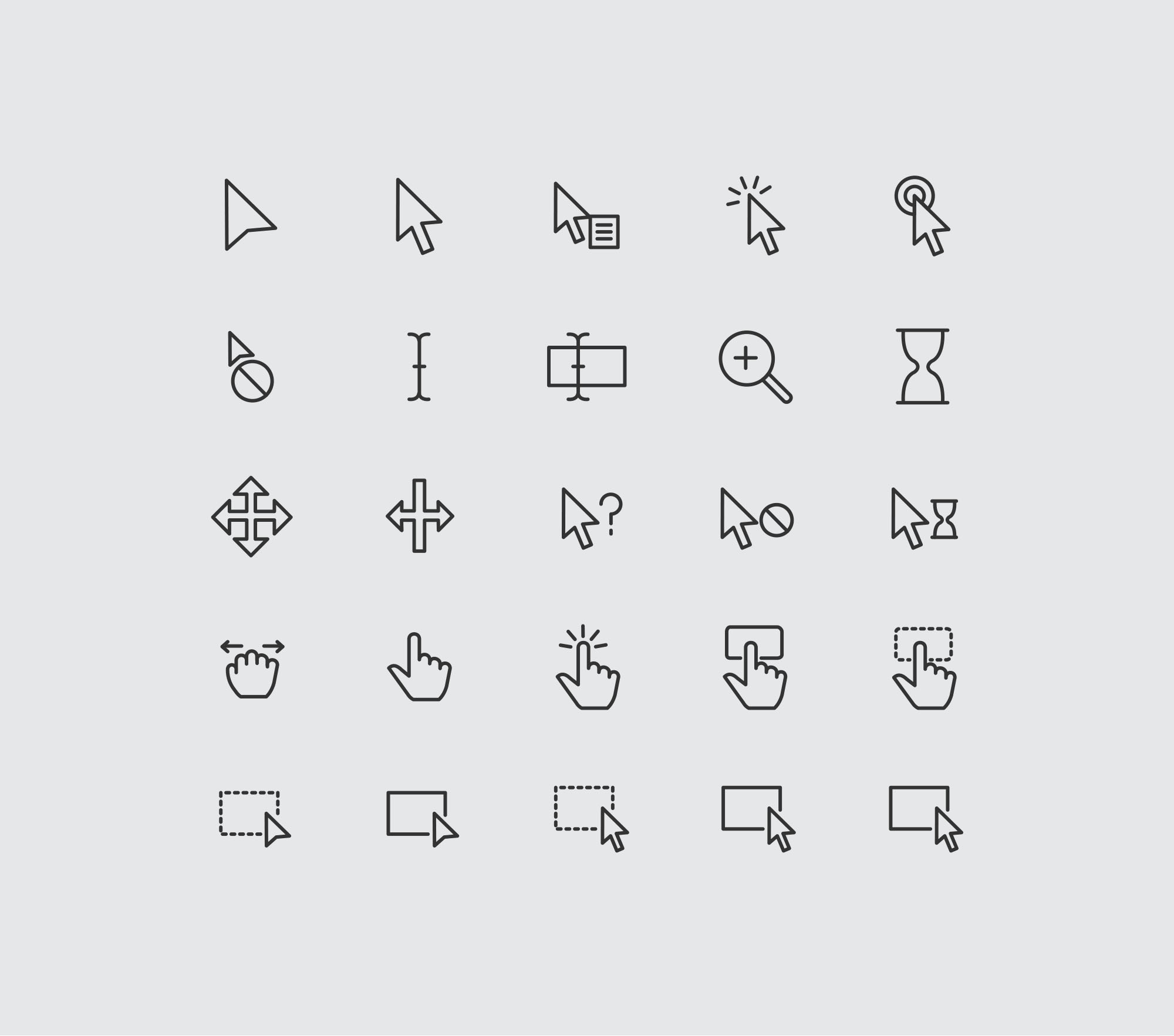 Cursor & Selection Icons - Light