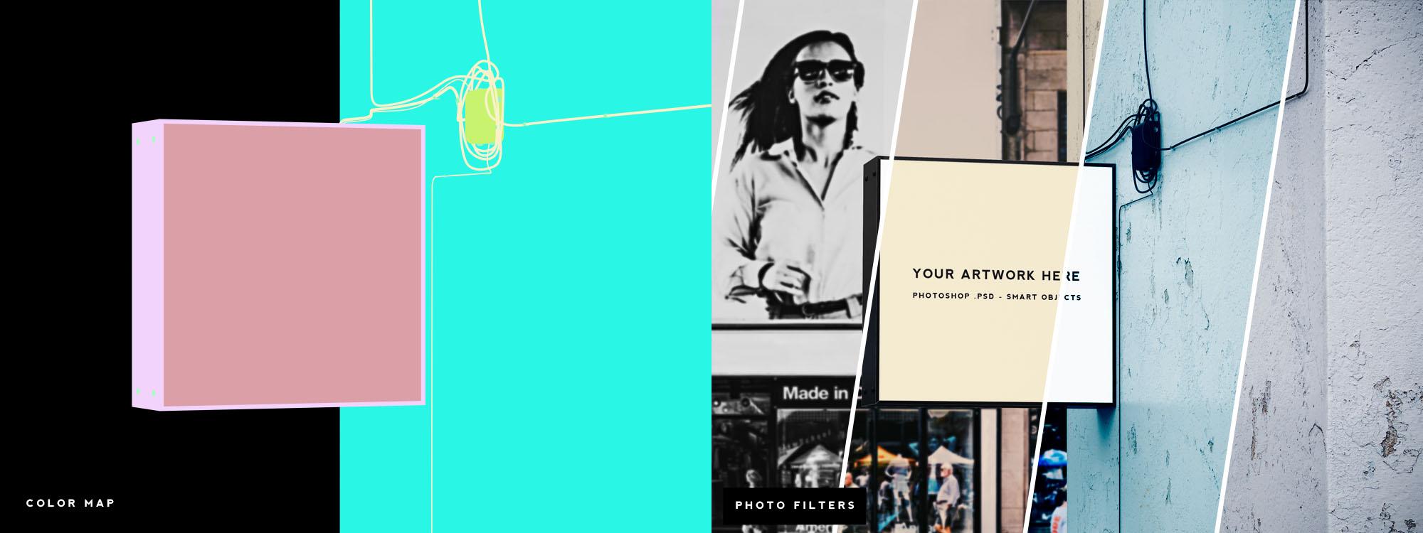 Shop Sign Mockup - Filters & Color Map