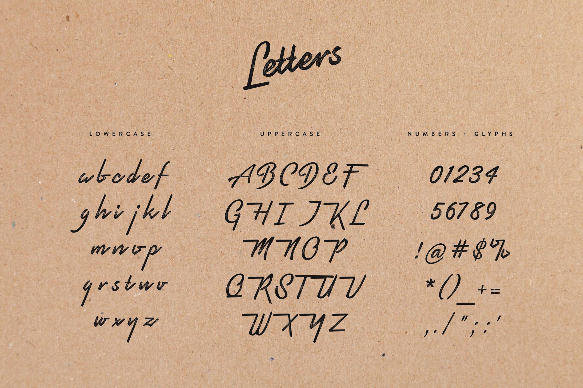 Pristine Script Typeface - Letters