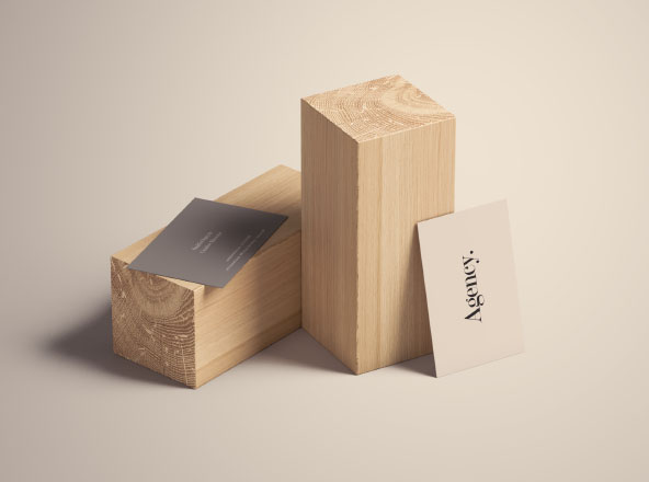 Business Card Mockup with Wood Blocks