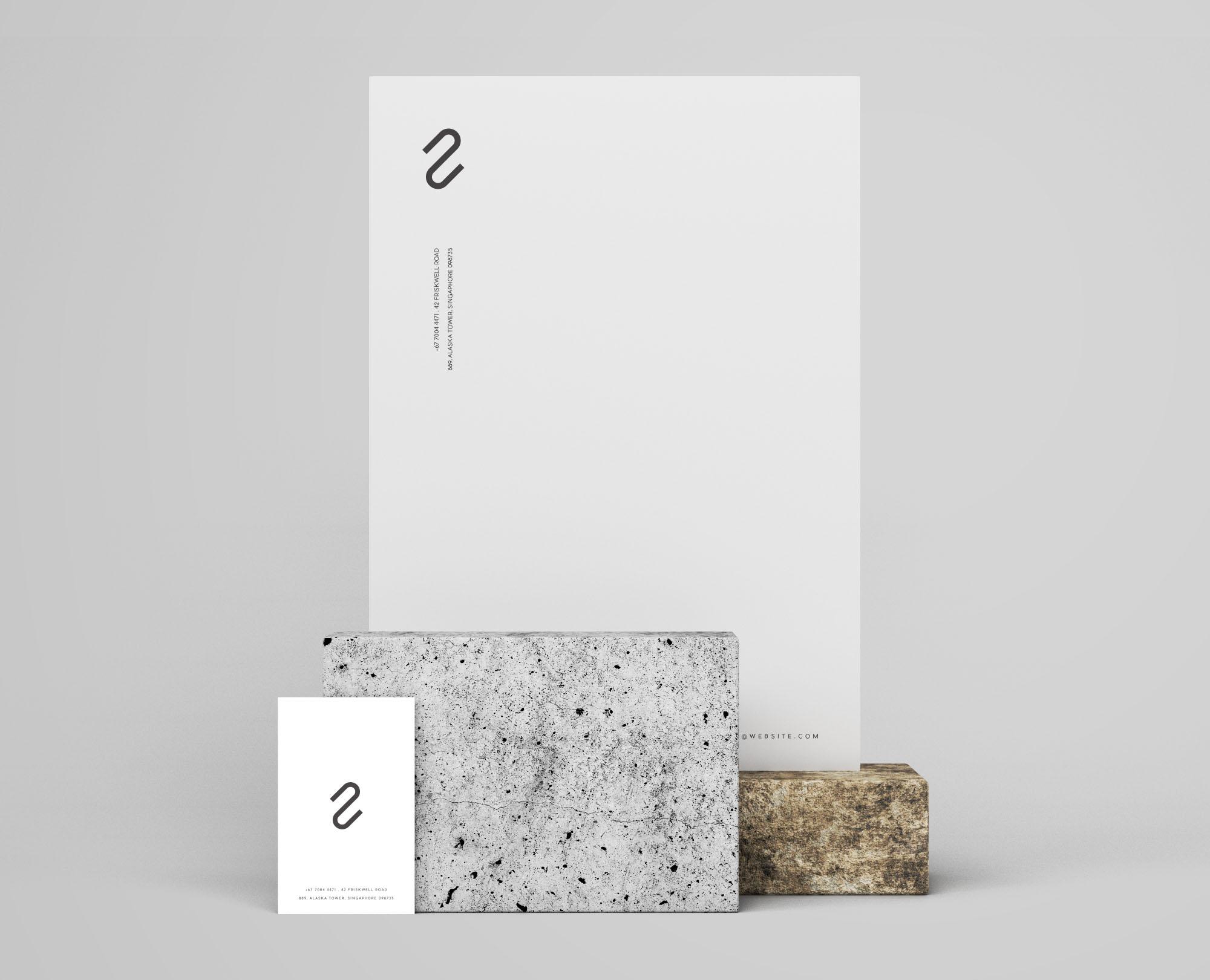 Letterhead Business Card Branding Mockup