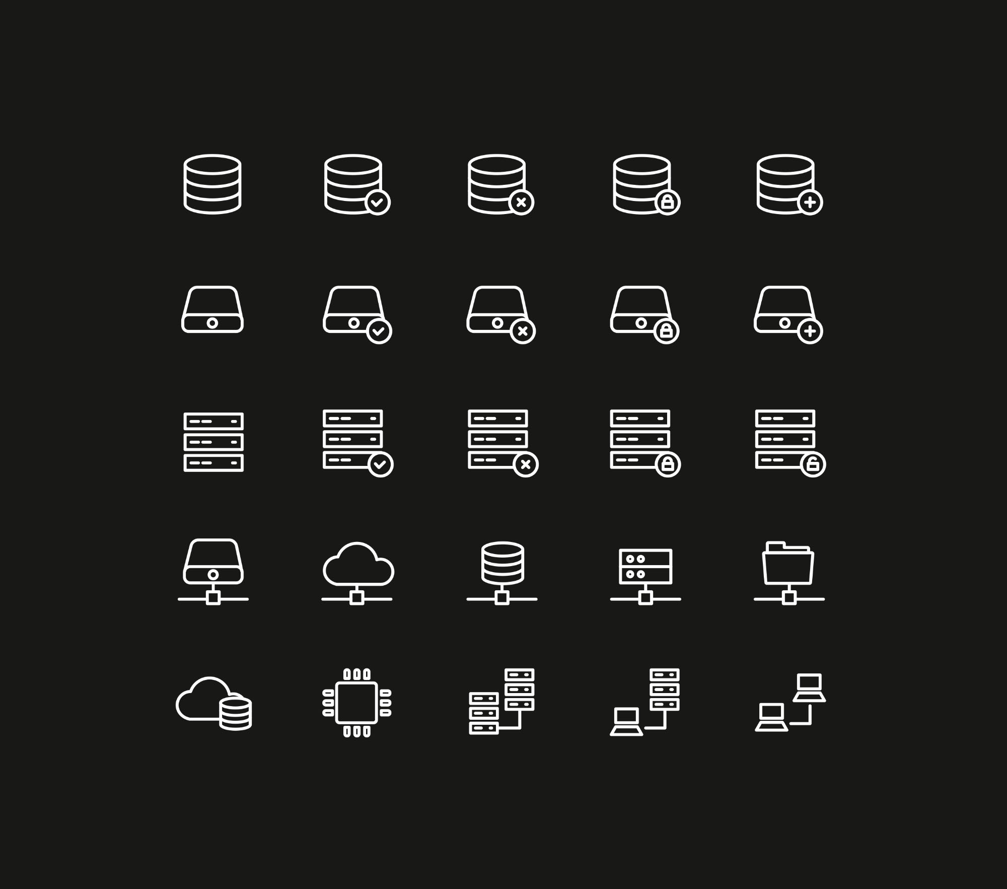 Database Storage Icons - Dark